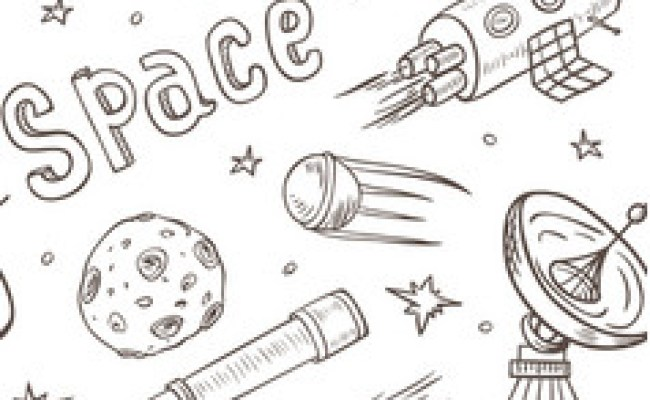 Doodle Space Planets Rocket Ship Stars Explore Royalty