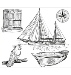 Set of broken pirate ship Royalty Free Vector Image