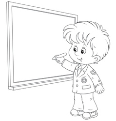 Schoolboy at geography lesson Royalty Free Vector Image