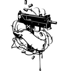 Gun with bullet holes and blood Royalty Free Vector Image