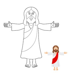 Jesus christ blessed faith outline Royalty Free Vector Image