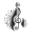 Violin guitar and treble clef Vector Image by alexkava