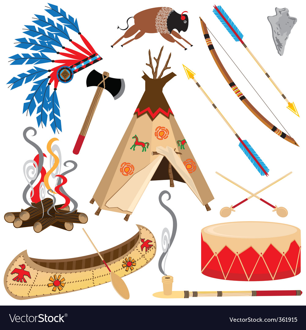 hight resolution of american indian clipart icons vector image