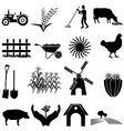 Black farm and agriculture icons set Royalty Free Vector