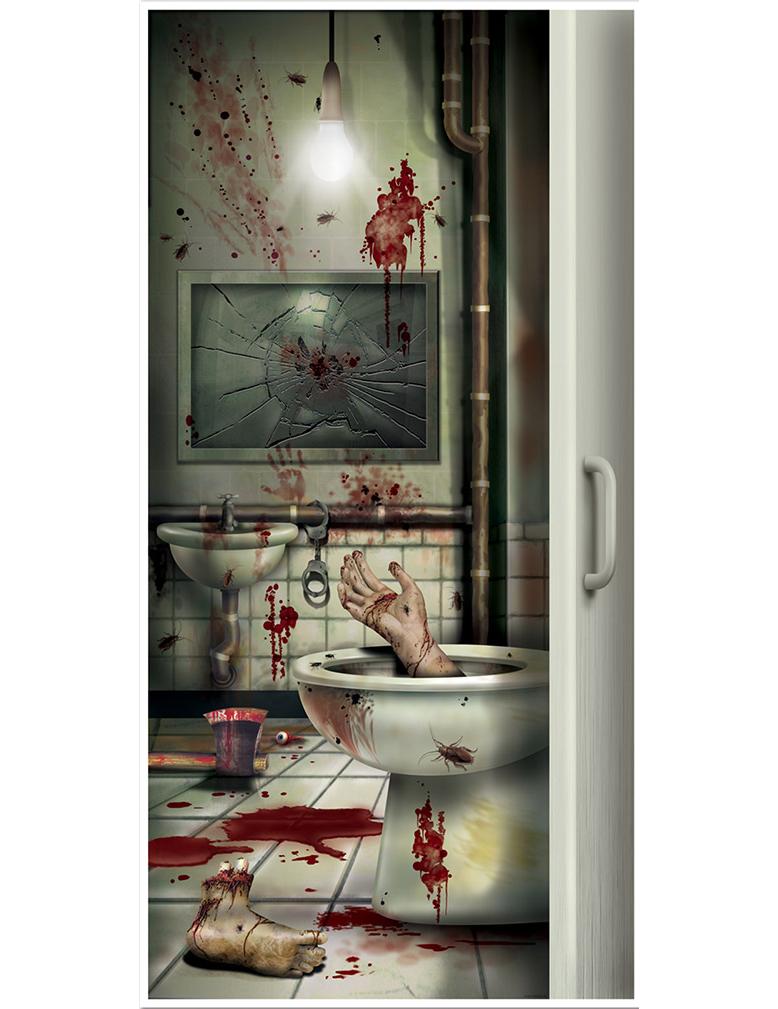 Decoracin para puerta cuarto de bao con sangre Halloween