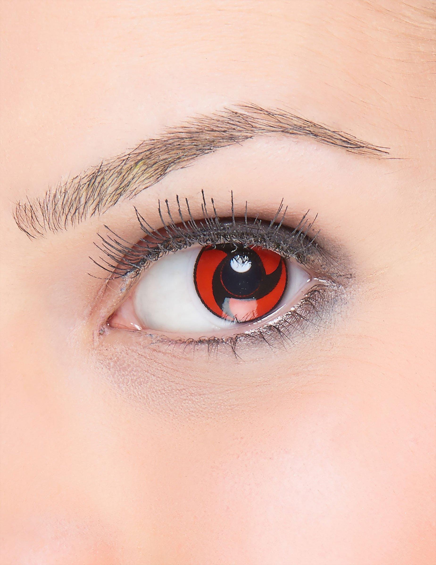 Lentes de contacto fantasa hlice negro sobre fondo rojo