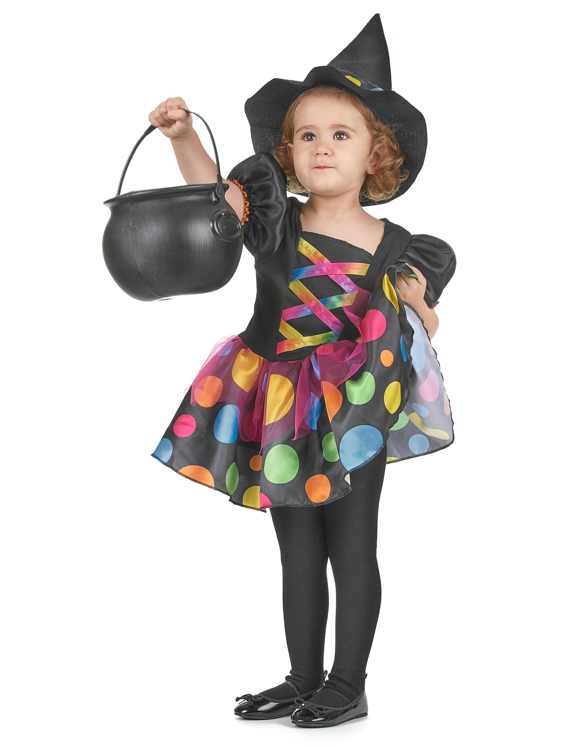 Disfraz de bruja con lunares multicolor nia Disfraces