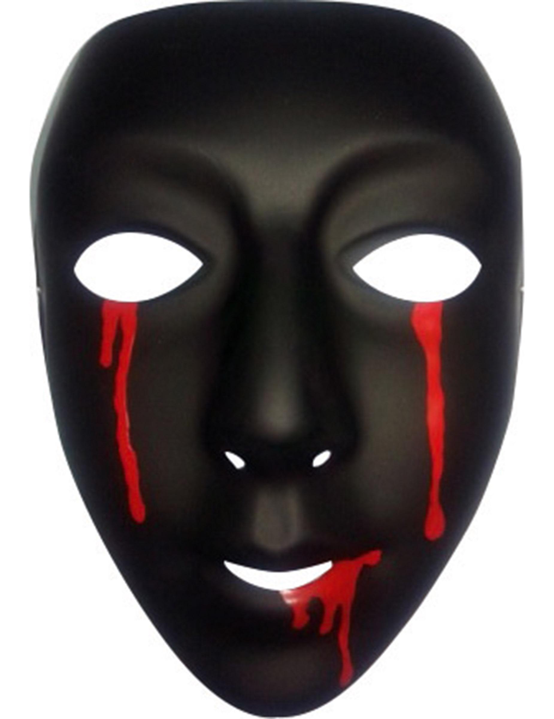 Mscara negra con lgrimas de sangre mujer Halloween