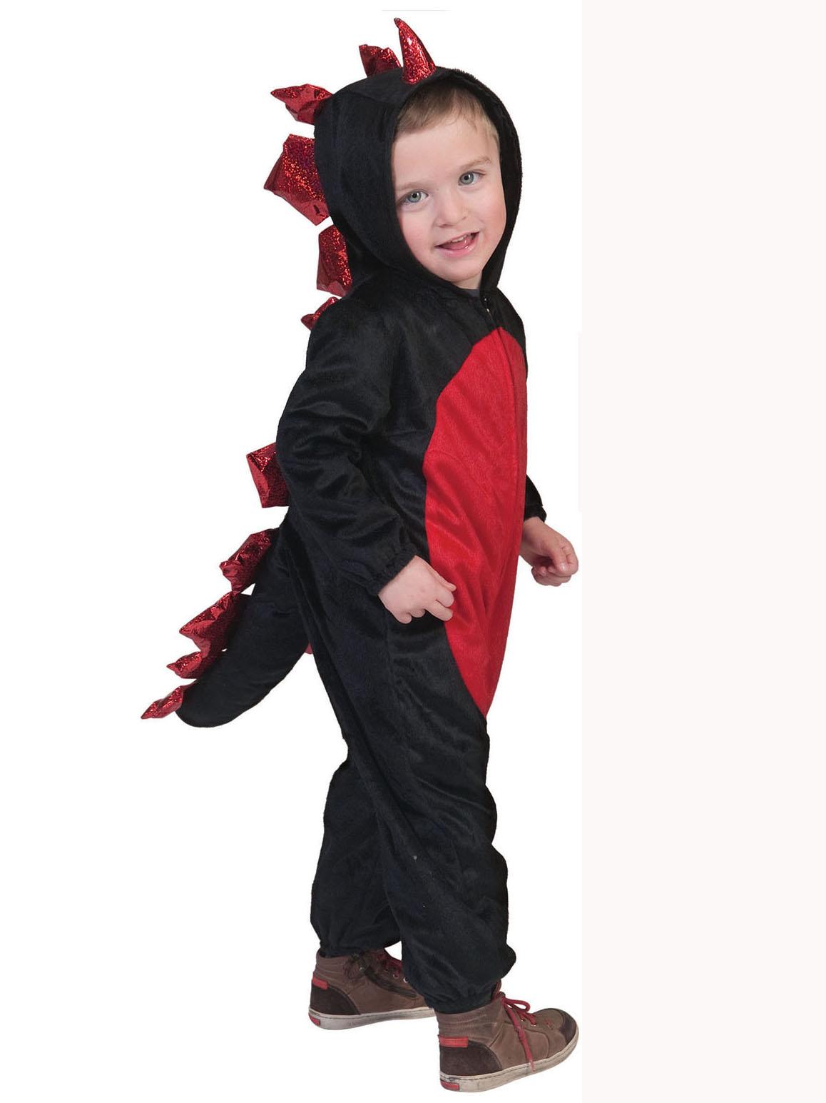 Disfraz de dinosaurio negro y rojo nio Halloween