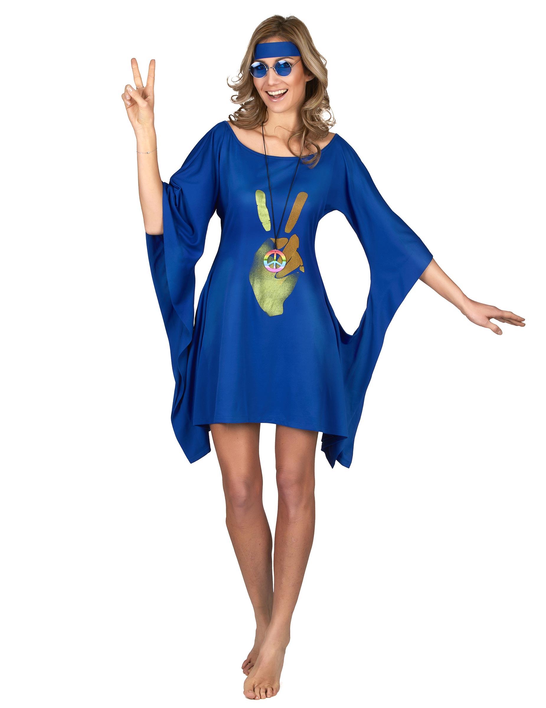 Disfraz hippie azul paz y amor mujer Disfraces adultosy disfraces originales baratos  Vegaoo