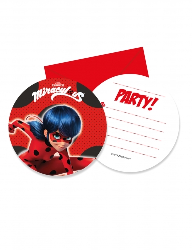 6 cartons d invitation avec enveloppes miraculous ladybug