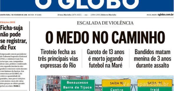 Resultado de imagem para manchetes jornais violencia medo