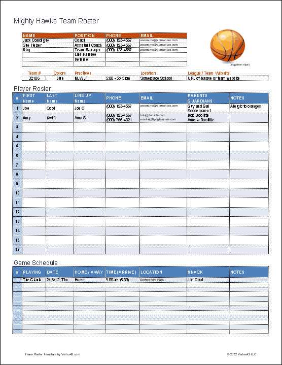 basketball stats excel template