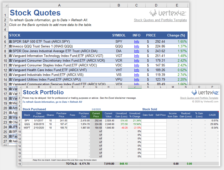 Diversification is key to success when building a good investment portfolio. Free Stock Quotes In Excel Portfolio Template