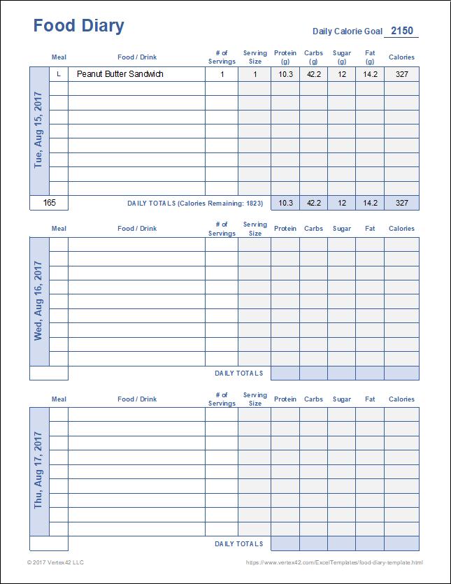 Google Sheets Weight Loss Template : google, sheets, weight, template, Diary, Template, Printable, Journal