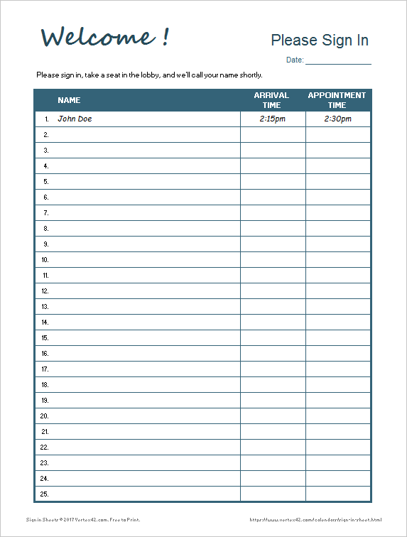 Whether it's windows, mac, ios or android, you will be able to download the images using download button. Printable Sign In Sheet Visitor Class And Meeting Sign In Sheets