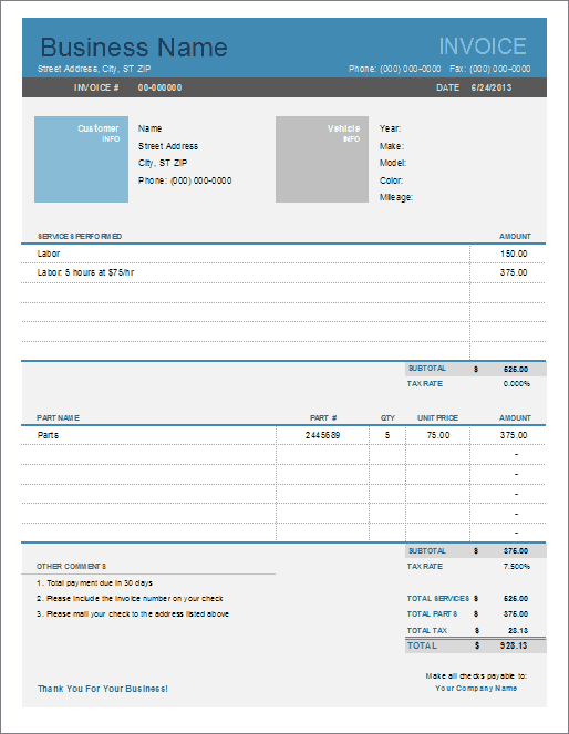 Invoice Templates for Excel