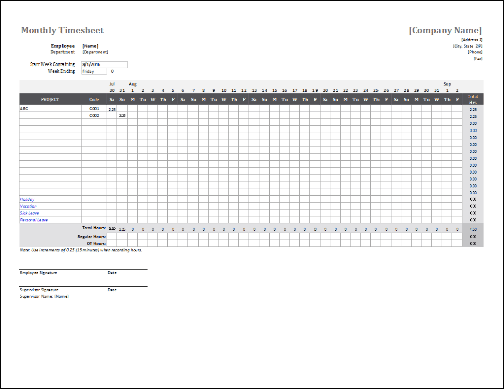 medium resolution of Monthly Timesheet Template for Excel and Google Sheets