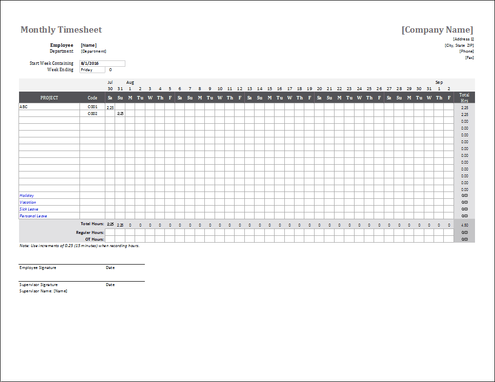 hight resolution of Monthly Timesheet Template for Excel and Google Sheets