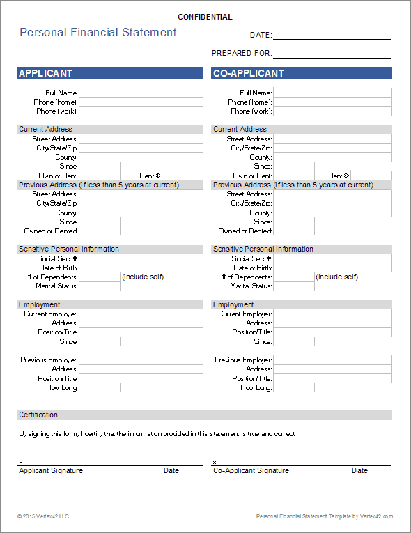 personal info forms template