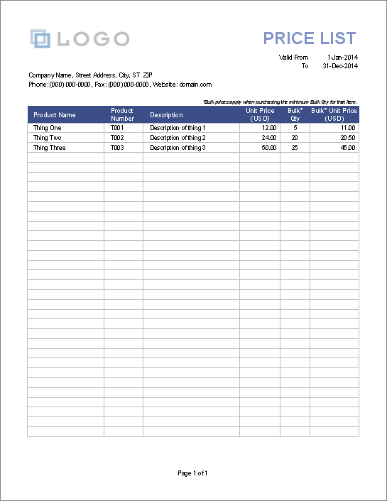 blank price list template