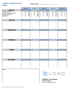Weight training plan template also for excel rh vertex