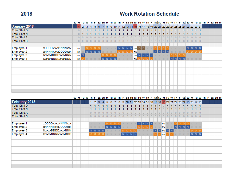 This is an accessible template. Free Rotation Schedule Template