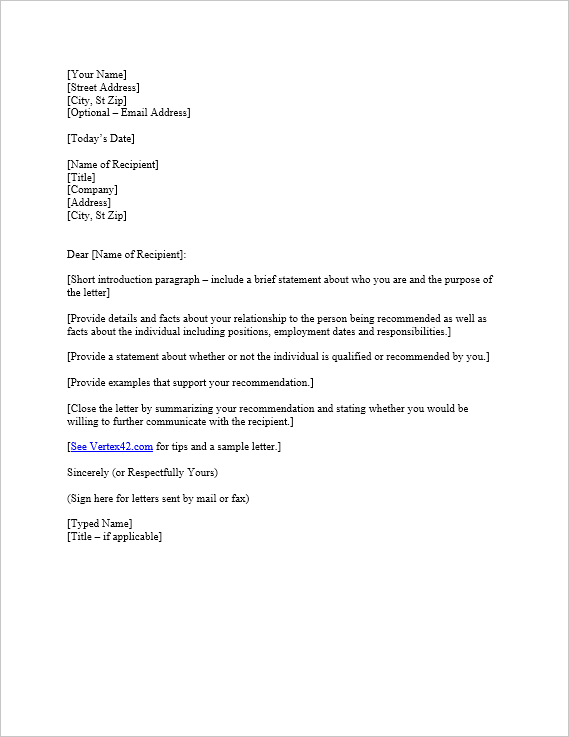 Reference letter template free download spiritdancerdesigns Image collections