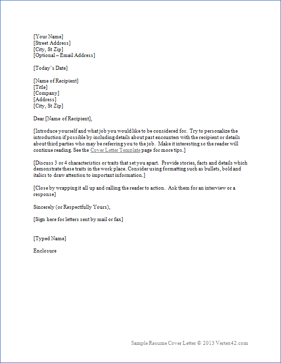 template for cover letter for resume