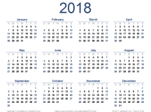 2018 Calendar Templates and Images