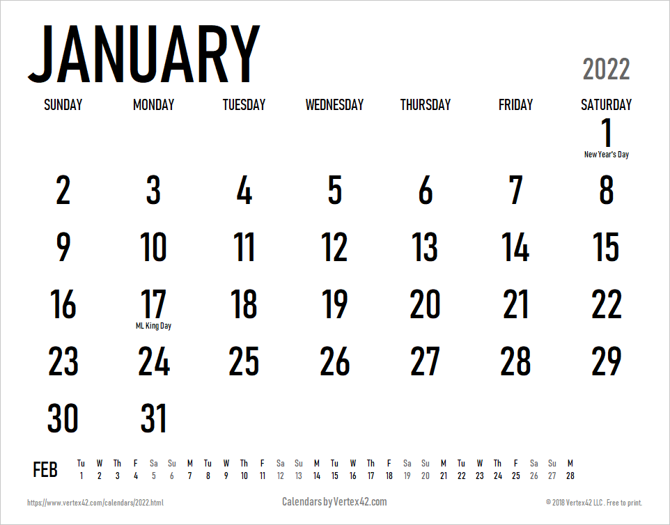 2022 Calendar Templates and Images