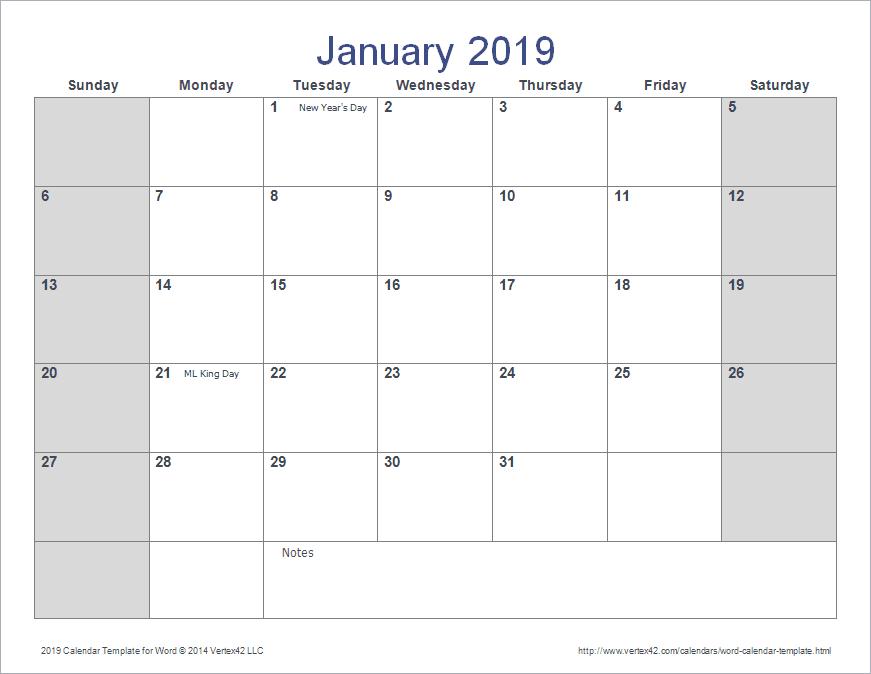 calendar template doc