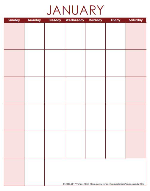 blank calendar template free