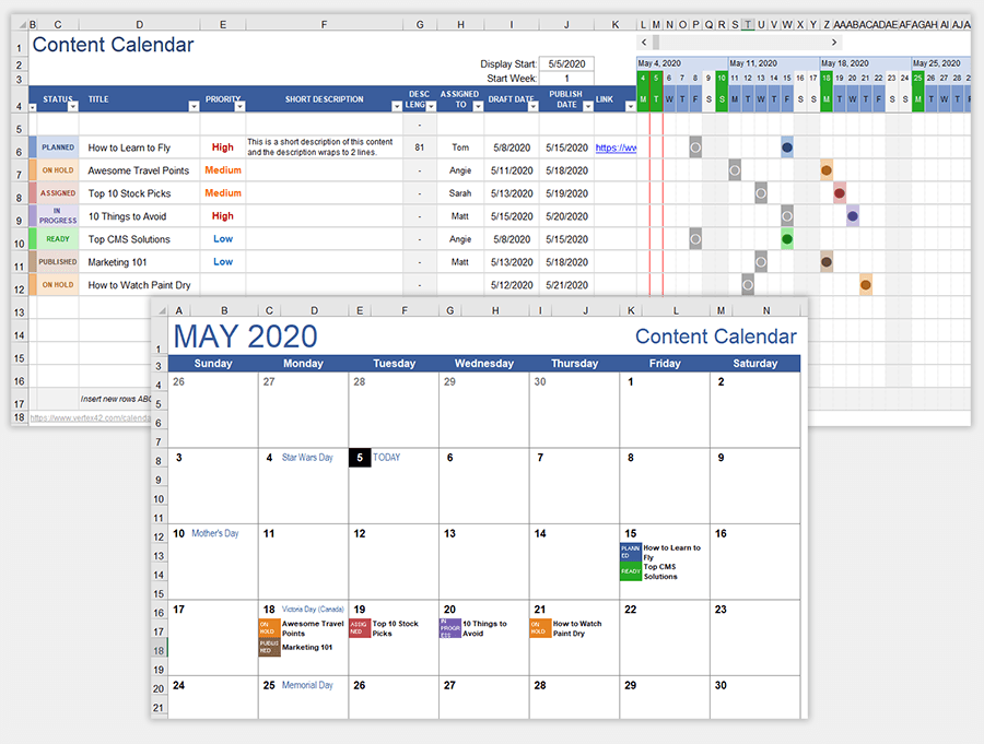 """From the new menu that appears, select """"process"""". Content Calendar Template For Excel And Google Sheets"""
