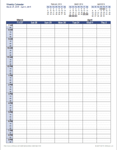 Excel weekly calendar template also for rh vertex
