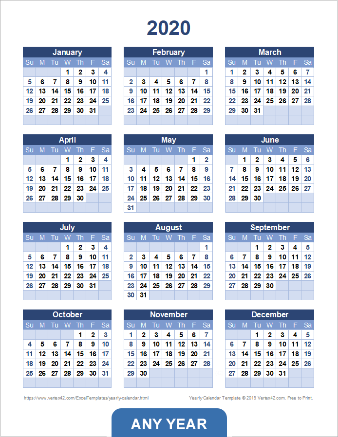 yearly schedule