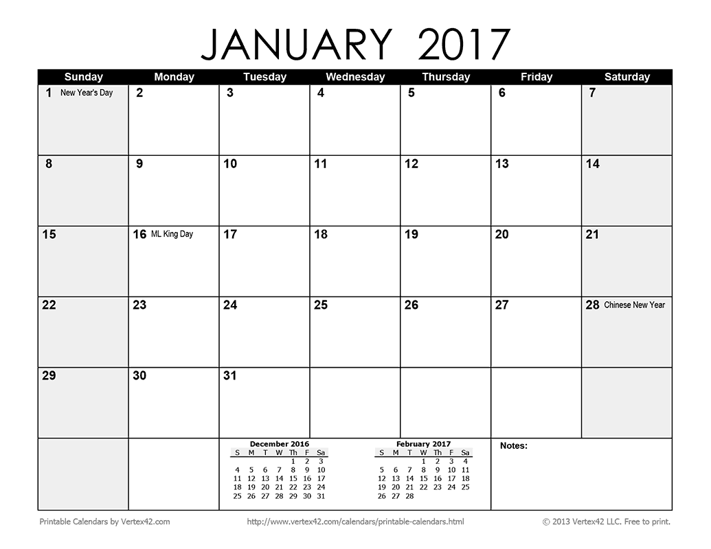 Download The Printable Monthly Calendar