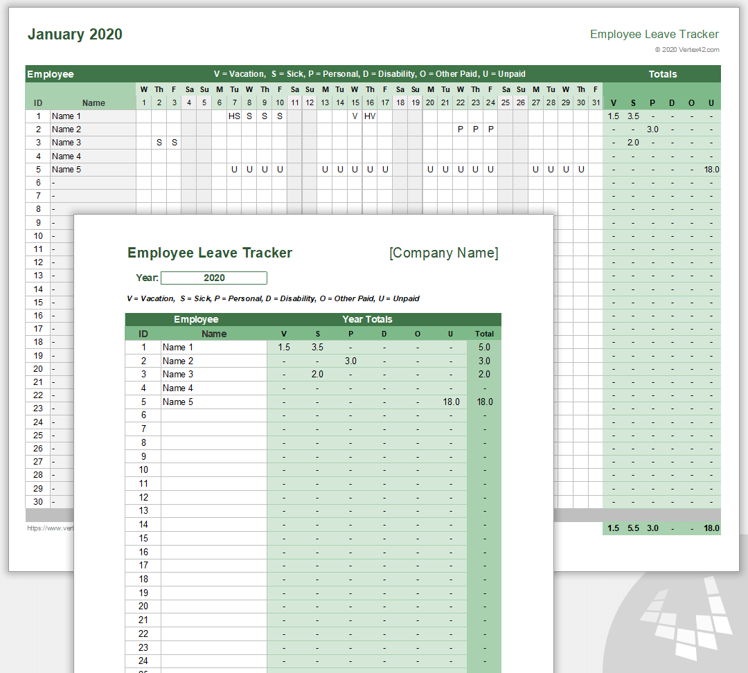 Employee Leave Tracker Template Leave Schedule