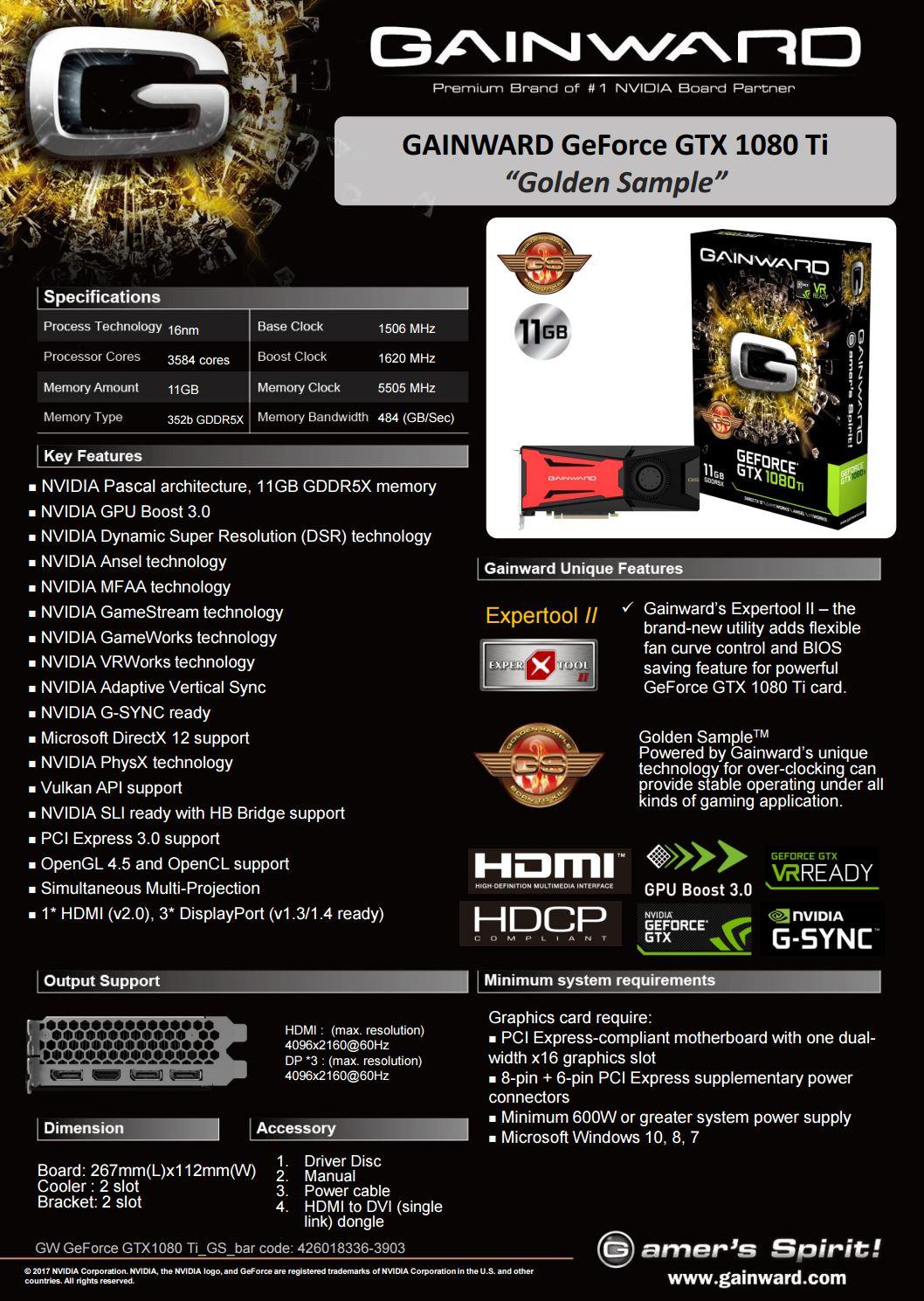 Gainward launches GeForce GTX 1080 Ti Golden Sample