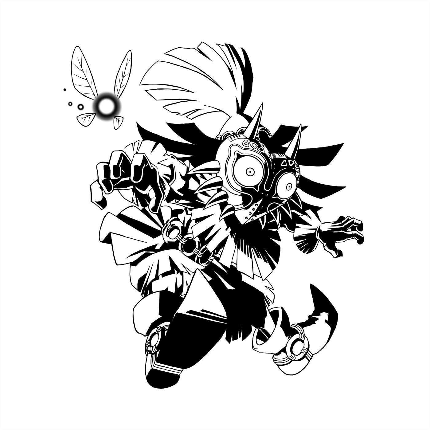 Zelda Majora S Mask 3d Black And White Skullkid Artwork
