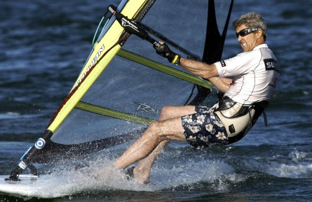 Kerry windsurfs off the coast of Nantucket in 2004. (Laura Rauch/AP File Photo)