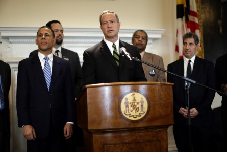 Maryland Gov. Martin O'Malley, center, speaks at a news conference in Annapolis, Md., Friday, March 15, 2013, after the Maryland General Assembly approved a measure to ban capital punishment. Also pictured from left is Lt. Gov. Anthony Brown, NAACP President Ben Jealous, Maryland State Conference NAACP President Gerald Stansbury and Sen. Jamie Raskin, D-Montgomery County. The bill now goes to O'Malley, who is expected to sign it. Maryland would become the 18th state to abolish the death penalty. (AP Photo/Patrick Semansky)