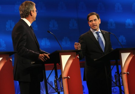 BOULDER, CO - OCTOBER 28:  Presidential candidates Sen. Marco Rubio (R) (R-FL) speaks while Jeb Bush looks on during the CNBC Republican Presidential Debate at University of Colorados Coors Events Center October 28, 2015 in Boulder, Colorado.  Fourteen Republican presidential candidates are participating in the third set of Republican presidential debates.  (Photo by Justin Sullivan/Getty Images)