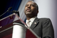 Republican Presidential hopeful Ben Carson speaks during the 2016 Republican Jewish Coalition Presidential Candidates Forum in Washington, DC, December 3, 2015. AFP PHOTO / SAUL LOEB / AFP / SAUL LOEB        (Photo credit should read SAUL LOEB/AFP/Getty Images)