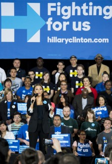 UNITED STATES - FEBRUARY 19: Actress and businesswoman Eva Longoria speaks to the crowd during the Hillary Clinton campaign rally at the Clark County Government Center Amphitheater in Las Vegas on Friday night, Feb. 19, 2016, one day before the Nevada Democrats' presidential caucus. (Photo By Bill Clark/CQ Roll Call)