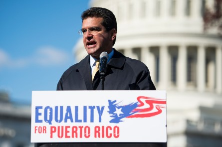 UNITED STATES - NOVEMBER 19: Del. Pedro Pierluisi, D-PR, speaks during the rally in support of Puerto Rico statehood on the east side of the U.S. Capitol on Tuesday, Nov. 19, 2013. (Photo By Bill Clark/CQ Roll Call)
