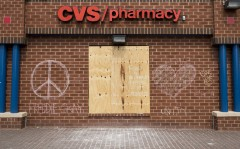 Chalk messages now adorn the boarded up CVS wall at Penn North. (Bill Clark/CQ Roll Call)