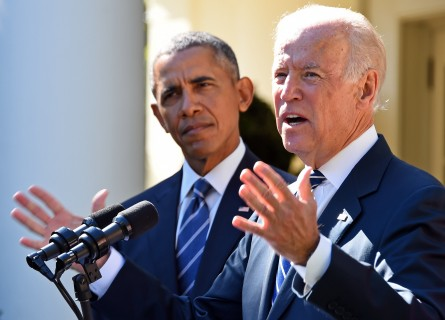 US President Barack Obama (L) looks on as US Vice President Joe Biden (R) speaks in the Rose Garden at the White House on October 21, 2015, in Washington, DC. Biden announced that he is not running for president. AFP PHOTO / JIM WATSON        (Photo credit should read JIM WATSON/AFP/Getty Images)