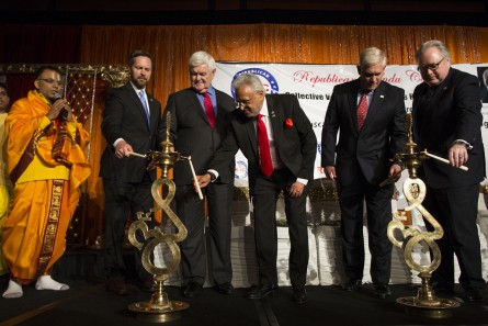 Former House Speaker Newt Gingrich, third from left, and House Rules Committee chairman Pete Sessions, R-Texas, second from right, light candles during the official launch of the Republican Hindu Coalition at the Hyatt Regency Washington on Capitol Hill, in Washington, Tuesday, November 17, 2015. (Photo By Al Drago/CQ Roll Call)