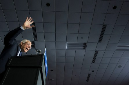UNITED STATES - FEB 1. - Democratic presidential candidate Sen. Bernie Sanders, I-Vt., speaks at his caucus night rally at the Holiday Inn Des Moines Airport and Conference Center, on Monday, Feb. 1, 2016 in Des Moines, Iowa. (Photo By Al Drago/CQ Roll Call)